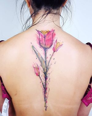 Tattoo by Rupe #Rupe #watercolor #sketch #illustrative #painterly  #tulip