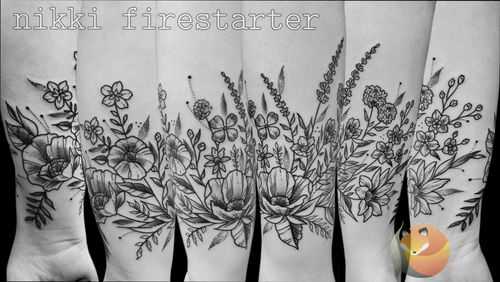 Floral band, full wrap forearm. . . . . #floral #FlowerTattoo #ForearmTattoo #ForearmBand #LineArt #Linework #BlackAndGray #clover #FloralTattoo #Nature #leaves #tattoos #BodyArt #BodyMod #modification #ink #art #QueerArtist #QueerTattooist #MnArtist #MnTattoo #VisualArt #TattooArt #TattooDesign #TheTattooedLady #TattooedLadyMN #NikkiFirestarter #FirestarterTattoos #firestarter #MinnesotaTattoo