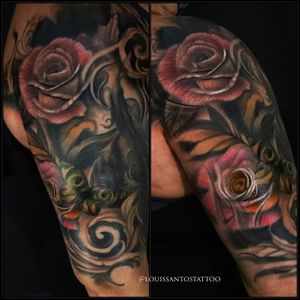 Free hand roses in colour