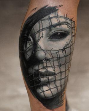 Tattoo portrait of the girl with net by tattoo artist Alexei Mikhailov @mikhailovtattoo