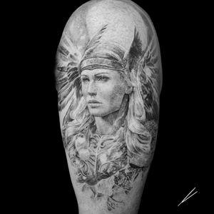 Instagram: @rusty_hst Valkyrie tattoo. Start of a sleeve.  #valkyrie #blackandgrey #realism