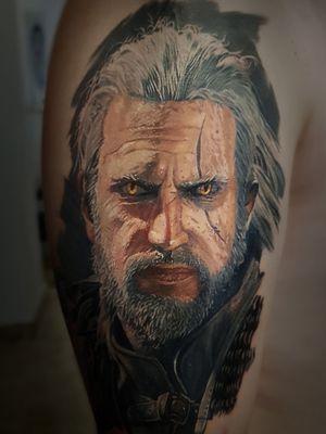 The witcher Tattoo by tattoo artist Alexei Mikhailov @mikhailovtattoo
