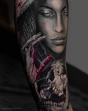 Portrait tattoo black and grey style by tattoo artist Alexei Mikhailov @mikhailovtattoo
