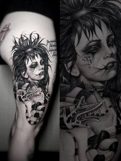 #beetlejuice #lydiadeetz #blackandgrey #blackandgray #tattoos #tattoo #damienart