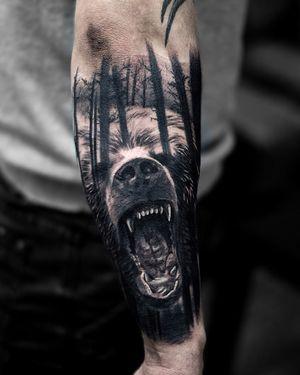 Bear tattoo by tattoo artist Alexei Mikhailov @mikhailovtattoo