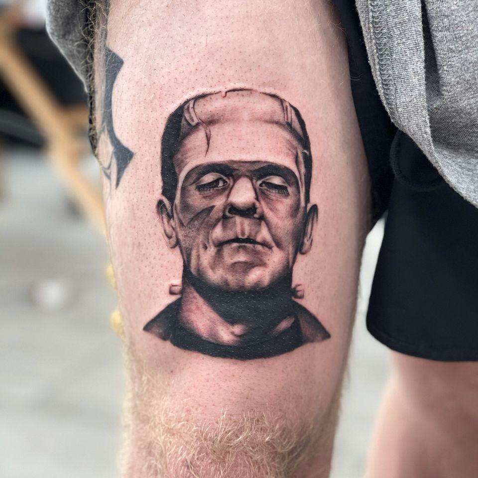 Tattoo by Miss Vampira aka Mary Minahan #MissVampira #MaryMinahan #frankenstein #frankensteinsmonster #realism #blackandgrey #horror #darkart