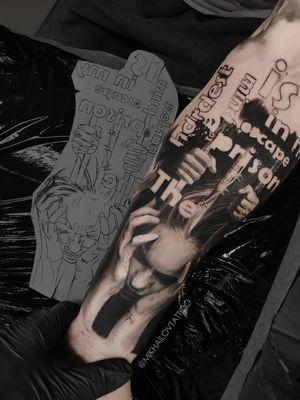 Realistic black and white art tattoo by tattoo artist Alexei Mikhailov