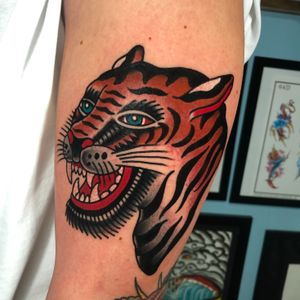 Tiger reference by BERT GRIMM. Done at SKULL SOCIETY TATTOO SHOP