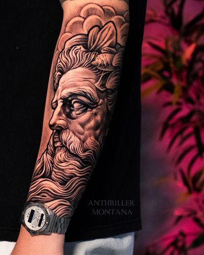 🔱 Neptune 🔱 #tattoodo #poseidon #neptune #poseidontattoo #neptunetattoo #greekmythology #sleeve #sleevetattoo #tattoooftheday #tattooart #blackandgrey #toronto #torontotattoos #anthrillermontana