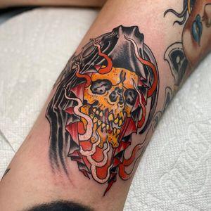 Tattoo by Beau Brady #BeauBrady #traditional #skull #reaper #fire
