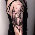 Tattoo by Alena Zozulenko #AlenaZozulenkoo #illustrative #blackandgrey #castle #darkart #architecture #star #building