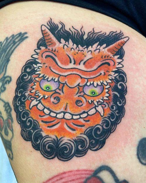 Tattoo by Beau Brady #BeauBrady #japanese #japaneseinspired #oni #goblin #flipface #yokai #demon