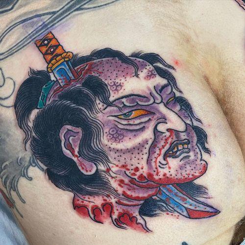 Tattoo by Beau Brady #BeauBrady #japanese #japaneseinspired #namakubi #severedhead #samurai #sword #blood