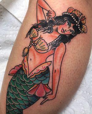 Tattoo by Beau Brady #BeauBrady #traditional #mermaid #lady #mythicalcreature #goddess #shells