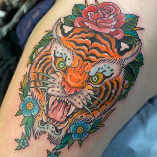 Tattoo by Beau Brady #BeauBrady #traditional #tiger #rose #flower #junglecat #animal #nature