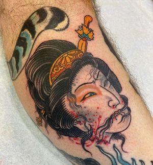 Tattoo by Beau Brady #BeauBrady #japanese #japaneseinspired #namakubi #severedhead #geisha #ladyhead #portrait