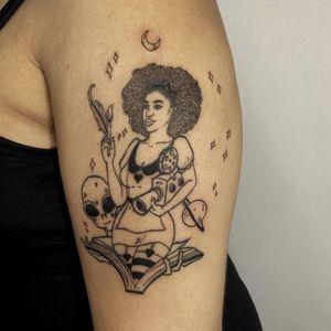 Tattoo by Story aka story.ink #Story #storyink #illustrative #linework #portrait #moon #saturn #alient #camera #book #lady