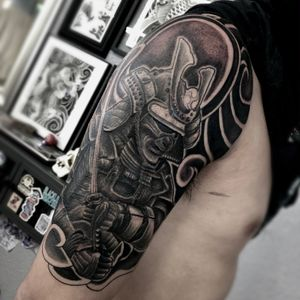Samurai black and grey half sleeve in progress