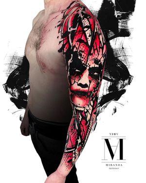 Full sleeve tattoo in avantgarde style. Representation of Batman's Joker from The Dark knight movie 🦇