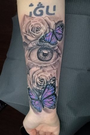 Eye , butterfly and roses