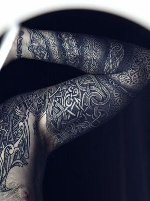 Jormungandr tattoo viking nordic by tattooist nicolasyede