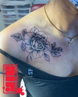 Rose on clavicle done on female client...Thanks for looking. #flowertattoos #rosetattoos #byjncustoms