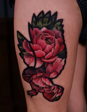 Realism Peonies inside an illustrative owl outline