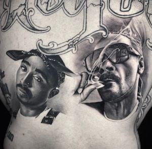 Healed Tupac and fresh Snoop dog portraits done at HapsFlow Tattoo Studio, in Hawaii.