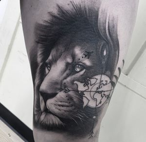 Lion piece with compass done at HapsFlow Tattoo Studio, here in Hawaii.
