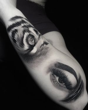 Eye of the tiger done at HapsFlow Tattoo Studio.