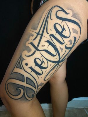 Lettering done at HapsFlow Tattoo Studio, in Hawaii.