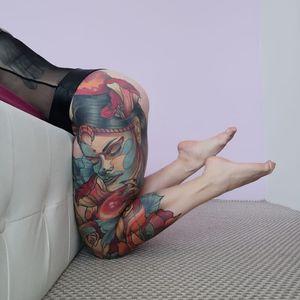 Healed leg sleeve💯 (3 sessions!) Thank you to my model Zuzana. Captured without filters #tondriktattoo #ucernekotvy #neotraditional #neotraditionaltattoos #irezumi #tattooedgirl #tattoomodel #bodysuit #inprogress #tattoo #tattoodo