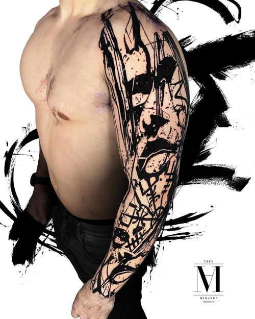 Full sleeve first session tattoo on this Avantgarde project ...work in progress...abstract concept