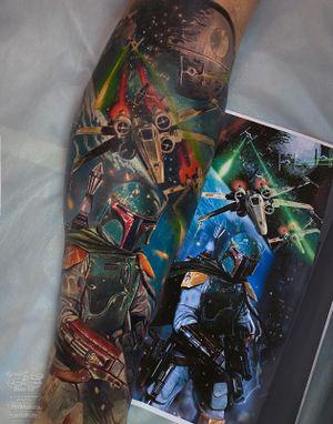 Star Wars, Boba Fett tattoo. Realistic color work.