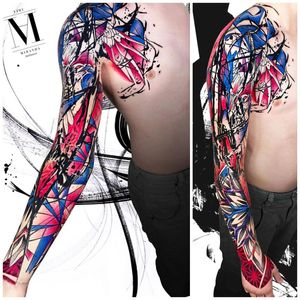 Full sleeve tattoo in abstract concept Avantgarde style ... ...