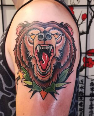 Neotraditional bear #bear #beartattoo #neotraditionalbear