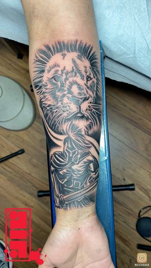Lion & Spartan pairing for Client...Thanks for watching. #lionstattoos #spartantattoos #customsdesign #byjncustoms☀️