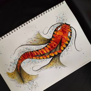 My own design and interpretation of a koi. I used a fineliner, Chinese ink and ecoline.