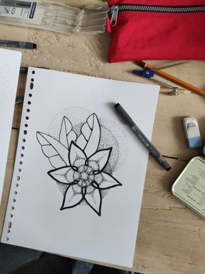 My own design. a fineliner flower and some dotwork.