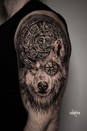 Wolf with Mayan calendar 📅 🐺 #wolf #mayan