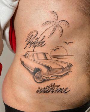 Tattoo by Dylan Long Cho or L'Encrerie #DylanLongCho #Lencrerie #lowrider #car #fineline #lettering #palmtree