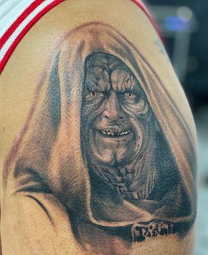 Palpatine, start of a Sith sleeve #starwars #blackandgrey #portrait #realism #sleevetattoo #armtattoo