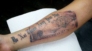 Old mao tattoo and quote from #hamilton #maptattoo #compass #fineline #blackandgreyrealism