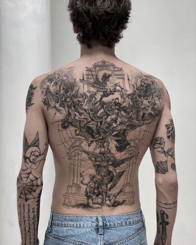 Havoc in Heaven #tattoo #finelinetattoo #singleneedletattoo #backpiecetattoo