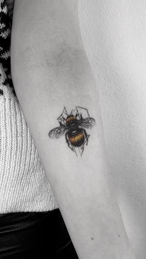 Little Bee 🐝 BOOKING OPEN! 📩:johny@danieltorocsik.com . @torocsikartroom . . #tattooed #inked #inkedmag #inkjunkeyz #tattooedmag #art #artist #tattooartist #budapest #bp #budapesttattoo #sketch #freehand #dailytattoo #dailyphoto #lines #fineline #tattoomachine #geometric #blackwork #beetattoo #bee #tattoomodel #instatattoo #tattoogram #tattoodesign #drawing #tattooist #bnw