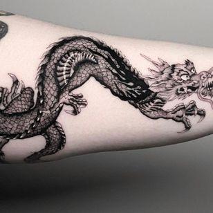 Tattoo by Deven Brodersen #DevenBrodersen #illustrative #fineline #singleneedle #dragon