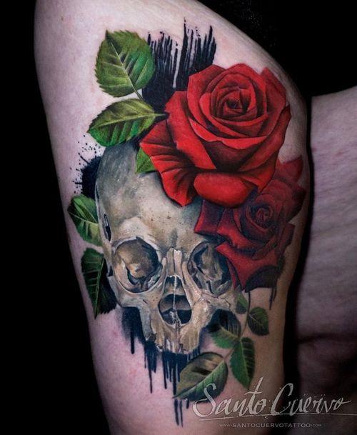 Skull and roses - Sponsored by: @hellotattoomed @greenhousetattoosupplies Done using: @killerinktattoo @fusion_ink @fkirons @inkjecta @blackclaw @stencilanchored @inkeeze #tattoo #tattedup #tattooart #tattoostudio #tattoolovers #ink #inklife #inked #tattooartist #londontattooartist #tattooing #tattoolife #tattoosocial #tattoolondon #vegantattoo #veganink #vegan #killerinktattoo  #london #stokenewington #hackney #londontattoostudio #alexalvarado #santocuervo