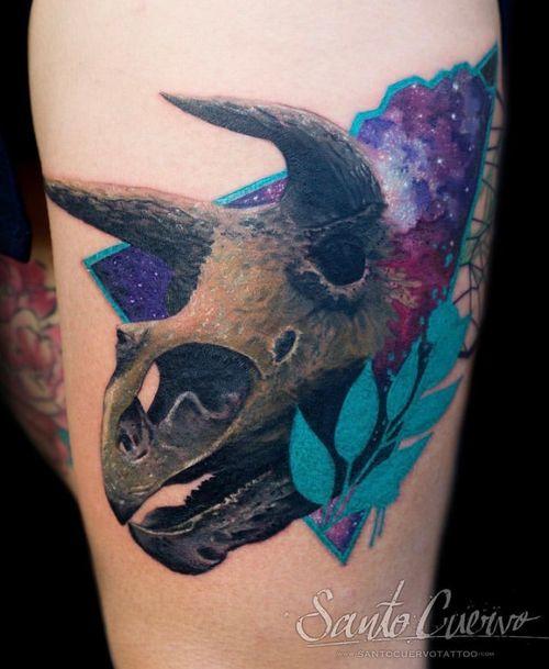 Triceratops - Sponsored by: @hellotattoomed @greenhousetattoosupplies Done using: @killerinktattoo @fusion_ink @fkirons @inkjecta @blackclaw @stencilanchored @inkeeze #tattoo #tattedup #tattooart #tattoostudio #tattoolovers #ink #inklife #inked #tattooartist #londontattooartist #tattooing #tattoolife #tattoosocial #tattoolondon #vegantattoo #veganink #vegan #killerinktattoo  #london #stokenewington #hackney #londontattoostudio #alexalvarado #santocuervo