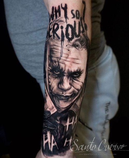 Joker - Sponsored by: @hellotattoomed @greenhousetattoosupplies Done using: @killerinktattoo @fusion_ink @fkirons @inkjecta @blackclaw @stencilanchored @inkeeze #tattoo #tattedup #tattooart #tattoostudio #tattoolovers #ink #inklife #inked #tattooartist #londontattooartist #tattooing #tattoolife #tattoosocial #tattoolondon #vegantattoo #veganink #vegan #killerinktattoo  #london #stokenewington #hackney #londontattoostudio #alexalvarado #santocuervo