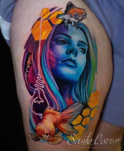 Neon girl - Sponsored by: @hellotattoomed @greenhousetattoosupplies Done using: @killerinktattoo @fusion_ink @fkirons @inkjecta @blackclaw @stencilanchored @inkeeze #tattoo #tattedup #tattooart #tattoostudio #tattoolovers #ink #inklife #inked #tattooartist #londontattooartist #tattooing #tattoolife #tattoosocial #tattoolondon #vegantattoo #veganink #vegan #killerinktattoo  #london #stokenewington #hackney #londontattoostudio #alexalvarado #santocuervo